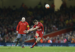 Outside half Dan Biggar kicks a penalty for Wales watched by kicking coach Neil Jenkins.<br /> RBS 6 Nations 2014<br /> Wales v Scotland<br /> Millennium Stadium<br /> <br /> 15.03.14<br /> <br /> &copy;Steve Pope-SPORTINGWALES