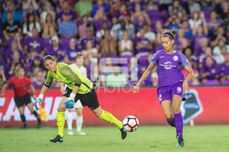 Orlando, FL - Saturday July 15, 2017: Nicole Barnhart, Kristen Edmonds during a regular season National Women's Soccer League (NWSL) match between the Orlando Pride and FC Kansas City at Orlando City Stadium.