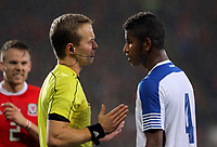 (L-R) Referee Bart Vertenten speaks with Fidel Escobar of Panama who is protesting for awarding a penalty to Wales during the international friendly soccer match between Wales and Panama at Cardiff City Stadium, Cardiff, Wales, UK. Tuesday 14 November 2017.