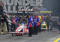 Jun. 19, 2011; Bristol, TN, USA: NHRA top fuel dragster driver Shawn Langdon during eliminations at the Thunder Valley Nationals at Bristol Dragway. Mandatory Credit: Mark J. Rebilas-