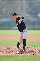 New York Yankees pitcher Andrew Schwaab (48) delivers a pitch during an Instructional League game against the Pittsburgh Pirates on September 28, 2017 at Pirate City in Bradenton, Florida.  (Mike Janes/Four Seam Images)