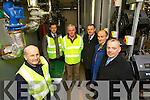 Pictured at Tobar Naofa in Moyderwell Tralee at a wood pellet boiler that will service houses in the area are from left: Tim McSweeny, senior executive engineer, Paul Nevalainen, Executive Engieneer, John Casey Clerk of works, Michael McMahon, Town Manager, Willie Moynihan, Energy Officer, Michael Scannell, Town Clerk.