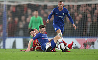 Chelsea's Billy Gilmour is challenged by Liverpool's Curtis Jones<br /> <br /> Photographer Rob Newell/CameraSport<br /> <br /> The Emirates FA Cup Fifth Round - Chelsea v Liverpool - Tuesday 3rd March 2020 - Stamford Bridge - London<br />  <br /> World Copyright © 2020 CameraSport. All rights reserved. 43 Linden Ave. Countesthorpe. Leicester. England. LE8 5PG - Tel: +44 (0) 116 277 4147 - admin@camerasport.com - www.camerasport.com