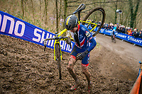 Picture by Alex Whitehead/SWpix.com - 04/02/2018 - Cycling - 2018 UCI Cyclo-Cross World Championships - Valkenburg, The Netherlands - Great Britain's Tom Pidcock in action during the Men's U23 race.