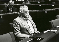 Pictured: Manolis Glezos at the European Parliament in 1984. STOCK PICTURE<br /> Re: Manolis Glezos, who took down a flag with a swastika from the Acropolis 30th of May 1941.