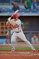 Palm Beach Cardinals center fielder Shane Billings (7) at bat during a game against the Charlotte Stone Crabs on April 20, 2018 at Charlotte Sports Park in Port Charlotte, Florida.  Charlotte defeated Palm Beach 4-3.  (Mike Janes/Four Seam Images)
