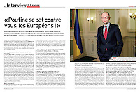 Interview with the Ukrainian prime minister Arseni Yatsenyuk in L'Express (French political magazine), 2015 April 1.<br />