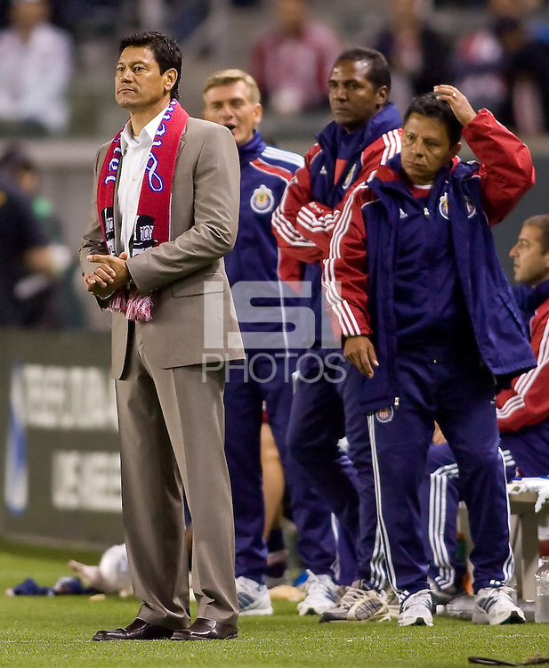 CD Chivas USA headcoach Martin Vasquez on the way to his second win. CD Chivas USA defeated the San Jose Earthquakes 3-2 at Home Depot Center stadium in Carson, California on Saturday April 24, 2010.  .
