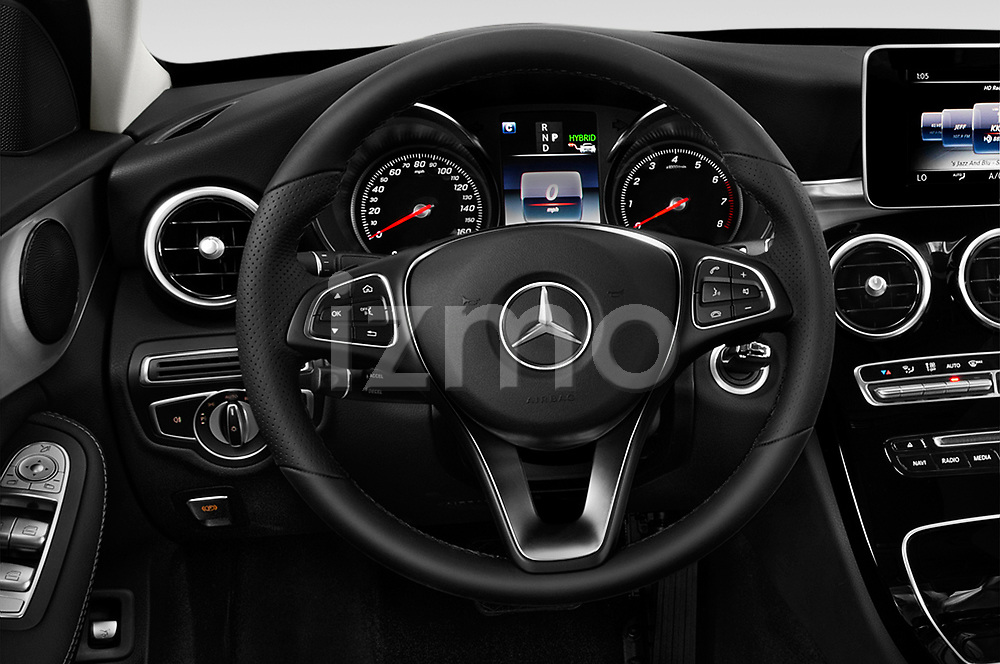Car pictures of steering wheel view of a 2018 Mercedes Benz C-Class Sedan C350e Plug-in Hybrid 4 Door Sedan