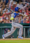 28 April 2017: New York Mets infielder Jose Reyes singles in the 4th inning against the Washington Nationals at Nationals Park in Washington, DC. The Mets defeated the Nationals 7-5 to take the first game of their 3-game weekend series. Mandatory Credit: Ed Wolfstein Photo *** RAW (NEF) Image File Available ***