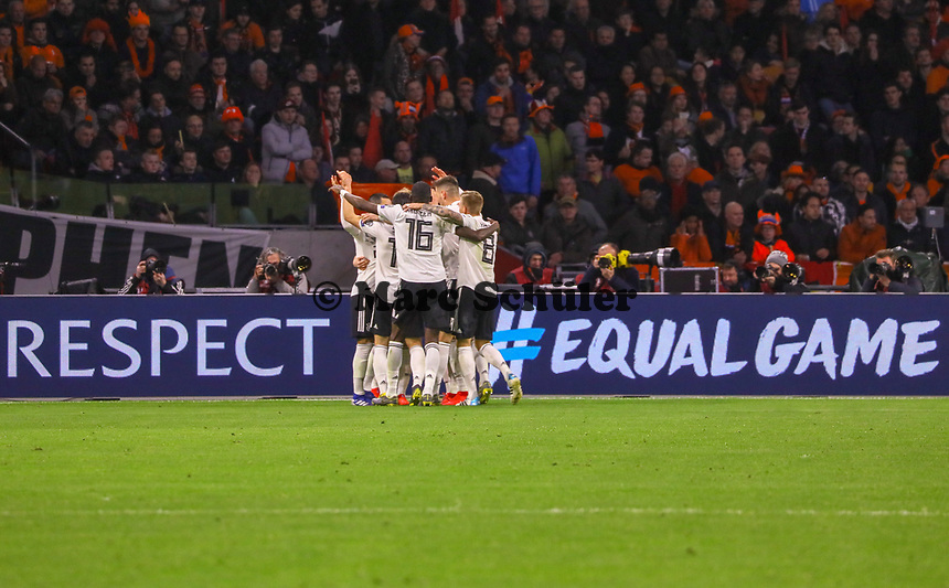 celebrate the goal, Torjubel zum 2:3 von Ilkay Gündogan (Deutschland, Germany), Marco Reus (Deutschland, Germany), Leroy Sane (Deutschland Germany), mehr Respekt für die Deutsche Mannschaft - 24.03.2019: Niederlande vs. Deutschland, EM-Qualifikation, Amsterdam Arena, DISCLAIMER: DFB regulations prohibit any use of photographs as image sequences and/or quasi-video.