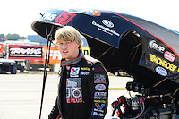 Sept. 21, 2012; Ennis, TX, USA: NHRA funny car driver Blake Alexander during qualifying for the Fall Nationals at the Texas Motorplex. Mandatory Credit: Mark J. Rebilas-US PRESSWIRE