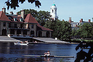 Cambridge, MA, September 1986. Harvard University, established in 1636, is the oldest institution of higher learning in the United States. Harvard's history, influence, and wealth have made it one of the most prestigious universities in the world.  The Harvard crew is typically considered to be one of the top teams in the country in rowing.