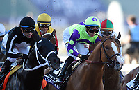 DEL MAR, CA - NOVEMBER 04: Jose Ortiz, aboard Good Magic #6, weaves through the pack during the Sentient Jet Breeders' Cup Juvenile race on Day 2 of the 2017 Breeders' Cup World Championships at Del Mar Racing Club on November 4, 2017 in Del Mar, California. (Photo by John Durr/Eclipse Sportswire/Breeders Cup)