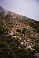 Rucu Pichincha Volcano. Climber at the bottom of the sandy section, Quito, Pichincha Province, Ecuador, South America