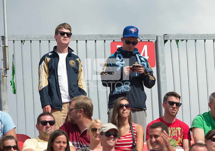 15 September 2012: Philadelphia Union fans show their support, one even had a Toronto Blue Jays baseball hat on during an MLS game between the Philadelphia Union and Toronto FC at BMO Field in Toronto, Ontario Canada. .The game ended in a 1-1 draw.