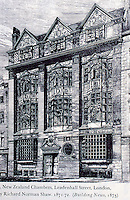 Richard Norman Shaw: New Zealand Chambers, Leadenhall Street, London, 1871-72.  (Building News, 1873).  Demolished. Picturesque style.Photo April 5, 2000.