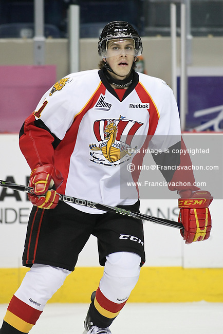 QMJHL (LHJMQ) hockey profile photo on Baie-Comeau Drakkar Francis Turbide October 8, 2011 at the Colisee Pepsi in Quebec city.