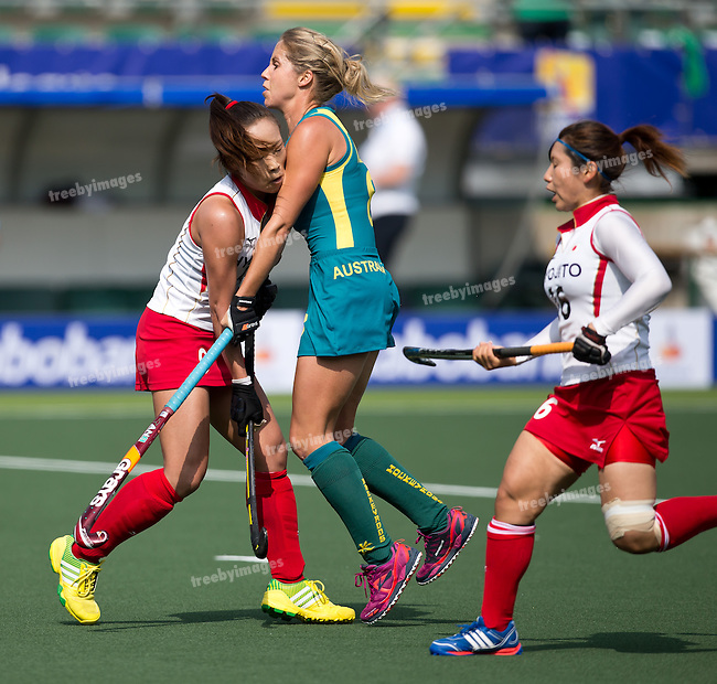 Hockey World Cup 2014<br /> The Hague, Netherlands <br /> Day 3 Womens Australia v Japan<br /> <br /> Photo: Grant Treeby<br /> www.treebyimages.com.au