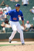 Pitcher Michael Kirkman #44 of the Round Rock Express winds up against the Nashville Sounds in Pacific Coast League baseball on May 9, 2011 at the Dell Diamond in Round Rock, Texas. (Photo by Andrew Woolley / Four Seam Images)