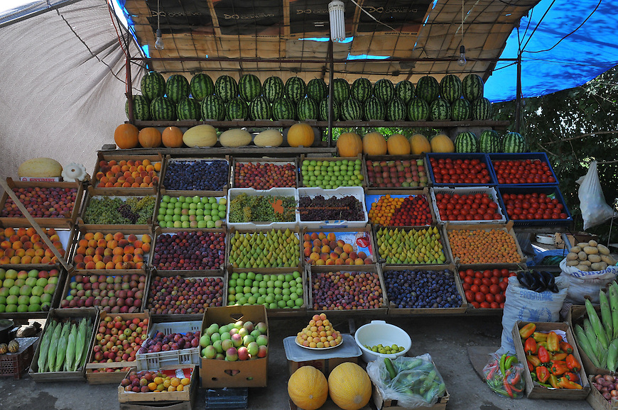 Displaying of fruits and Vegetables at the market