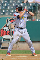 Logan Moore (15) of the Reading Fightin Phils bats during a game against the New Britain Rock Cats at New Britain Stadium on July 13, 2014 in New Britain, Connecticut.  Reading defeated New Britain 6-4.  (Gregory Vasil/Four Seam Images)