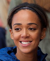 Katarina Johnson-Thompson (Great Britain) after competing in the Women's long jump during the IAAF Diamond League Athletics Müller Grand Prix Birmingham at Alexander Stadium, Walsall Road, Birmingham on 18 August 2019. Photo by Alan  Stanford.