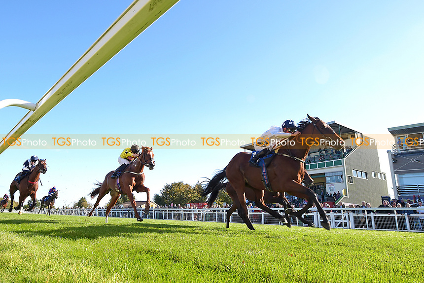 Winner of The Radcliffe & Co EBF Novice Stakes Div 2 Clara Peters ridden by Jason Watson and trained by Gary Moore  during Afternoon Racing at Salisbury Racecourse on 3rd October 2018