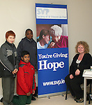 Maria McKenna from St.Vincent de Paul with students from St. Josephs CBS Sundays Gate at the Barbican Parish Centre Open Day...Photo NEWSFILE/Jenny Matthews.(Photo credit should read Jenny Matthews/NEWSFILE)....This Picture has been sent you under the condtions enclosed by:.Newsfile Ltd..The Studio,.Millmount Abbey,.Drogheda,.Co Meath..Ireland..Tel: +353(0)41-9871240.Fax: +353(0)41-9871260.GSM: +353(0)86-2500958.email: pictures@newsfile.ie.www.newsfile.ie.FTP: 193.120.102.198.