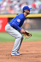Chicago Cubs third baseman Kris Bryant (17) awaits a play during a game against the Atlanta Braves at Turner Field on June 11, 2016 in Atlanta, Georgia. The Cubs defeated the Braves 8-2. (Tony Farlow/Four Seam Images)