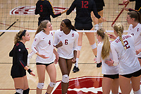 STANFORD, CA - November 15, 2017: Morgan Hentz, Meghan McClure, Tami Alade, Jenna Gray, Kathryn Plummer, Merete Lutz at Maples Pavilion. The Stanford Cardinal defeated USC 3-0 to claim the Pac-12 conference title.