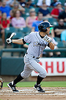 Omaha Storm Chasers third baseman Anthony Seratelli #2 swings during the Pacific Coast League baseball game against the Round Rock Express on July 22, 2012 at the Dell Diamond in Round Rock, Texas. The Express defeated the Chasers 8-7 in 11 innings. (Andrew Woolley/Four Seam Images).