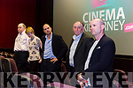 Director Maurice O'Carroll with actors TaraDwones, Alex Fegan and Tom Lawlor talking to the audience at the premiere of his debut feature lenght film Dead Along the Way in Killarney Cinema on Tuesday night