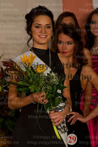 Muzsa Kalvari participates the Miss Hungary beauty contest held in Budapest, Hungary on December 29, 2011. ATTILA VOLGYI