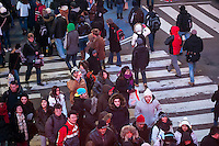 "Thousands upon thousands of tourists pack Times Square in New York on Sunday, December 30, 2012, the night before New Year's Eve. Temperatures for the celebration are expected to drop below freezing but remain dry with over a million people packing the ""Crossroads of the World"" celebrating the incoming 2013. (© Richard B. Levine)"