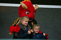 20191006 TUBIZE: Red Flames fans are pictured with the mascot Red at the Open Training of Red Flames on Sunday 6th of October 2019, Tubize, Belgium PHOTO SPORTPIX.BE | SEVIL OKTEM