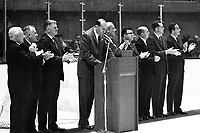 Opening night of the California Seals Hockey team...at the Oakland-Alameda County Coliseum. President Robert Nahas at podium with Sen. William F.Knowland publisher of the Oakland Tribune. and other city and County executives. (1966 photo/Ron Riesterer)