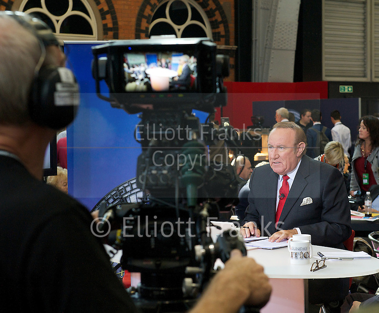 Labour Party Conference <br /> at Manchester Central, Manchester, Great Britain <br /> 23rd September 2014 <br /> <br /> Andrew Neil on Daily Politics <br /> <br /> Photograph by Elliott Franks <br /> Image licensed to Elliott Franks Photography Services