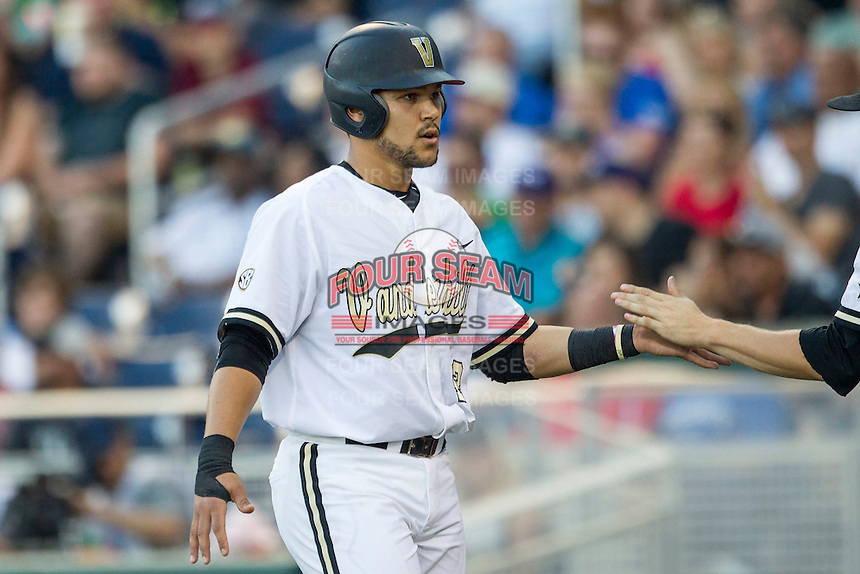 Vanderbilt Commodores first baseman Zander Wiel (43) ACTION against the TCU Horned Frogs in Game 12 of the NCAA College World Series on June 19, 2015 at TD Ameritrade Park in Omaha, Nebraska. The Commodores defeated TCU 7-1. (Andrew Woolley/Four Seam Images)