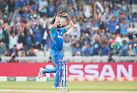 Jasprit Bumrah (India) celebrates the wicket of Guptill during India vs New Zealand, ICC World Cup Semi-Final Cricket at Old Trafford on 9th July 2019