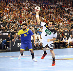 12.01.2019, Mercedes Benz Arena, Berlin, GER, Germany vs. Brazil, im Bild 7m, Uwe Gensheimer (GER #3), Thiago Ponciano (BRA #35)<br /> <br />      <br /> Foto &copy; nordphoto / Engler