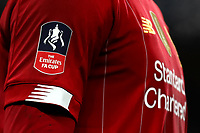 3rd March 2020; Stamford Bridge, London, England; English FA Cup Football, Chelsea versus Liverpool; The F.A Cup logo seen on a Liverpool players shirt - Strictly Editorial Use Only. No use with unauthorized audio, video, data, fixture lists, club/league logos or 'live' services. Online in-match use limited to 120 images, no video emulation. No use in betting, games or single club/league/player publications