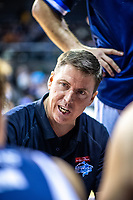 Giants coach Jamie Peralman talks to his team during the national basketball league match between Wellington Saints and Nelson Giants at TSB Bank Arena in Wellington, New Zealand on Thursday, 26 July 2018. Photo: Dave Lintott / lintottphoto.co.nz