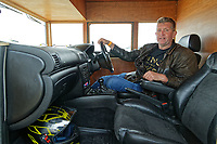 """Pictured: Kevin Nicks in the driving seat of his Fastest Shed in Pendine, west Wales, UK. Saturday 12 May 2018<br /> Re: A motorised shed has broken its own land speed record on a Welsh beach as it hit over 100mph.<br /> The Fastest Shed smashed its previous 80mph (129km/h) record for the fastest shed at a land speed event at Pendine Sands in Carmarthenshire.<br /> Its owner, gardener Kevin Nicks said it was """"marvellous"""" to hit 101.043mph (160 km/h) in what he said was the only road legal shed with an engine in the world.<br /> Mr Nicks, from Chipping Norton in Oxfordshire, created his bespoke shed on wheels, which now boasts a turbo-charged 450 brake horsepower turbo engine that is more powerful than many sports cars."""