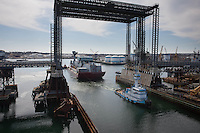 "tug ""Allie B"" with crane on barge, aerial views, Quincy, MA Boston harbor Goliath crane"