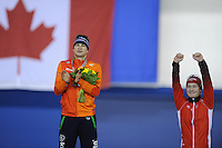 SPEED SKATING: CALGARY: Olympic Oval, 08-03-2015, ISU World Championships Allround, Fianl Podium Men, Sven Kramer (NED), Sverre Lunde Pedersen (NOR), ©foto Martin de Jong