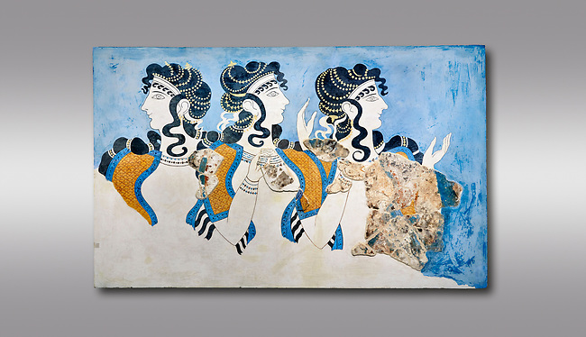 Minoan wall art fresco of 'Ladies in Blue' from Knossos Palace 1600-1450 BC. Heraklion Archaeological Museum.  Grey Background. <br /> <br /> The 'Ladies in Blue' Minoan fresco depicts richy dressed female figures with opulent jewelery and clothing with flamboyant hairstyles refecting the wealth of the Palace of Knossos