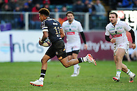 Anthony Watson of Bath Rugby runs in a try. European Rugby Challenge Cup match, between Bath Rugby and Pau (Section Paloise) on January 21, 2017 at the Recreation Ground in Bath, England. Photo by: Patrick Khachfe / Onside Images