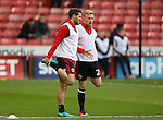 Billy Sharp of Sheffield Utd with Mark Duffy of Sheffield Utd during the English League One match at Bramall Lane Stadium, Sheffield. Picture date: December 31st, 2016. Pic Simon Bellis/Sportimage