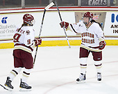 Taylor Wasylk (BC - 9) and Ashley Motherwell (BC - 18) celebrate Wasylk's goal which made it 4-1 BC in the second period. Wasylk had two goals in the game while Motherwell had 1 goal, 1 assist. - The Boston College Eagles defeated the visiting Brown University Bears 5-2 on Sunday, October 24, 2010, at Conte Forum in Chestnut Hill, Massachusetts.